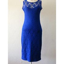 Maravilhoso Vestido Midi Azul Royal De Renda Nobre