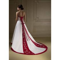 Vestido De Noiva Novo Sob Medida Branco/ Vermelho Cores