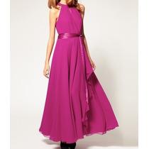 Vestido Longuete Em Chiffon - Rosa Pink E Azul