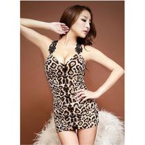 Vestido Sexy Leopardo Com Detalhes Nas Costas Tamanho P