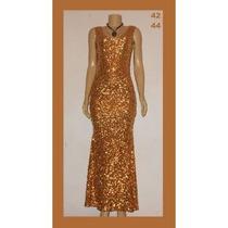 Vestido Festa Madrinha Noiva Paetê Longo Curt Dourado Brilho