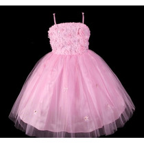 Vestido Infantil Festa/ Princesa/dama/florista Flores Rosa