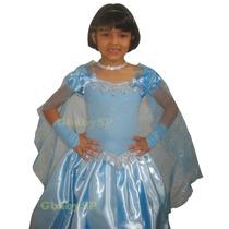 Fantasia Vestido Frozen Luxo Elsa - Brinde Colar E Bracelete