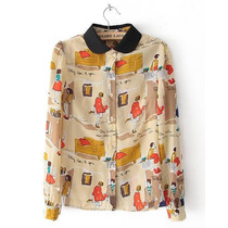 Camisa Feminina Chiffon Blusa Cartoon Fashion Pronta Entrega