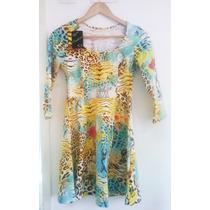 Vestido Estampado Onça Floral Animal Print Verão Casual