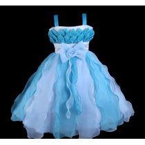 Vestido Infantil/festa/daminha Princesa Mesclado 2 Cores