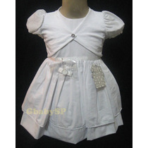 Vestido Infantil Branco Batizado - Com Bolerinho E Tic Tac
