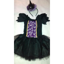 Fantasia Bruxa Infantil Halloween Monster Com Tiara Chapeu