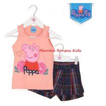 Conjunto Peppa Pig Regata E Short Saia Xadrez Malwee 1- 6