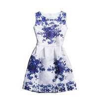 Vestido Floral Branco Com Azul.
