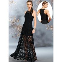 Vestido Longo De Renda Forrado -festa - Casamento- Formatura