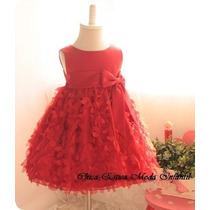 Vestido Infantil Festa Ou Casamento Vermelho Babados Luxo