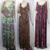 Lote 6 Vestidos Longos Compridos Estampados Liganete