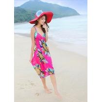 Lindo Vestido Saída De Praia Verão Rosa Tam Unico