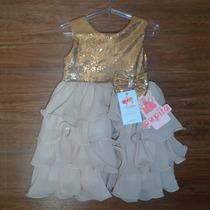 Vestido Infantil De Festa Princesa Dourado Com Tule E Tiara