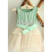 Vestido Festa Importado Menina Bebê Verde Tam 1-2-3-4-5