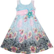 Vestido Infantil Verão Floral Estampado Aniversário, Festa