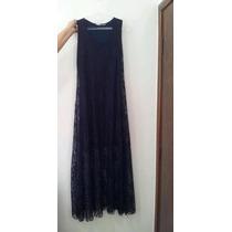 Vestido Preto Azul Marinho Em Renda Longo