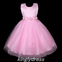 Vestido Luxo Infantil Tafetá Rosa Floral Tam 4-5 2015