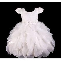 Vestido Infantil Festa/casamento/princesa Babados Perolinha