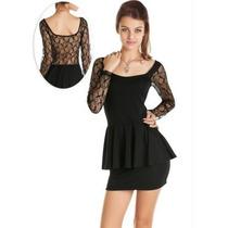 Vestido Em Renda Estilo Peplum (preto)