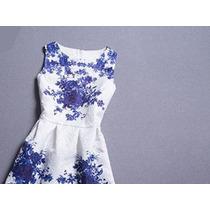 Lindo Vestido Rodado Em Estampa Portuguesa - Frete Gratis