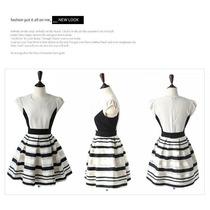 Vestido Listrado Importado Organza - Desenho 2014