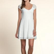 Hollister Vestido De Renda Branco Tamanho M
