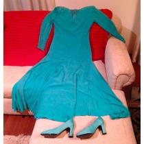 Lindo Vestido De Festa Verde Italiano Com Sapatos