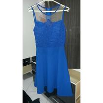 Vestido Festa Tule E Renda Azul Royal
