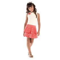 Conjunto Infantil Meninas 2 Peças Blusa + Saia Com Paetês