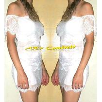 Mini Vestido Curto Sexy Justo Renda Branco Ciganinha Panicat