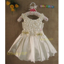 Vestido De Festa Infantil Princesa Luxo - Cor Palha Em Cetim