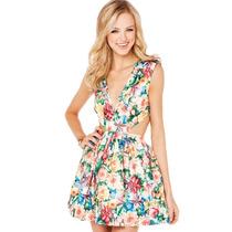 Lindíssimo Vestido Curto Estampa Floral Acetinado Importado