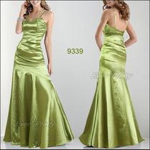 Vestido Festa Longo Cetim Verde Queima Estoque
