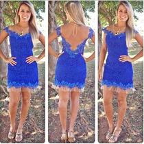 Lindo Vestido Renda Azul Tule Transparente Pronta Entrega