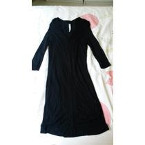 Vestido Preto Manga 3/4 De Lã Com Elastano Zara!!!!