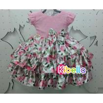 Vestido Infantil Da Barbie C/ Babado - Tam 1 Ao 3