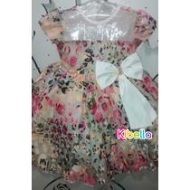 Vestido Infantil Luxo Estampado Detalhe Laço - Tam 1 / 3