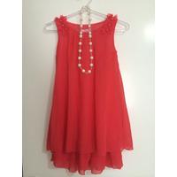 Vestido Infantil Chiffon Colar Pérola Laço Rosa Vermelho
