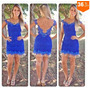 Vestido De Renda 2015 Sólido Azul Backless Roupas