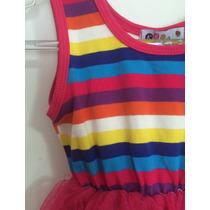 Vestido Infantil Malha Tule Listrado Laço Cetim Bailarina