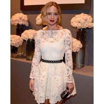 Lindo Vestido Branco Com Panicat Rodado - Importado