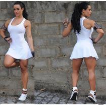 Vestido Fitness Short Saia Textura 3d -macacão- Academia