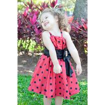 Vestido Vermelho Com Bolinhas Tamanho 2 Anos