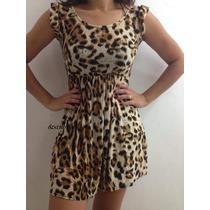 Vestido Estampado Onça Oncinha Leopardo Em Microfibra Lindo