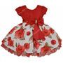 Vestido De Festa Infantil Floral Luxo Com Tiara De Brinde.