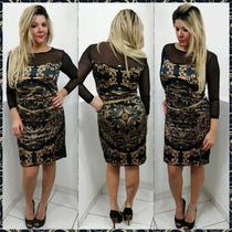 Vestido Feminino Estampado C/ Segunda Pele Realist Ref 20790