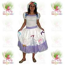 Vestido Noiva Caipira Adulto ° Festa Junina ° Branco Lilás