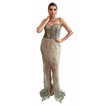 Vestido De Festa Bordado Longo - Vivaz - Novo